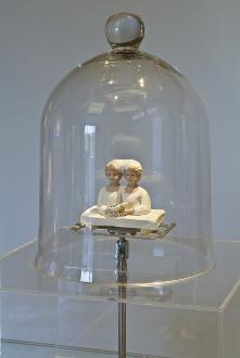 Self other, 2007, wood, glass (show-cade 1960), plexiglass, silver, steel, fabric, threads, sketch, dimensions variable
