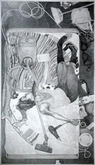 Bed-room 3.96 m², 2006, pencil drawing on paper, 264 x 150 cm